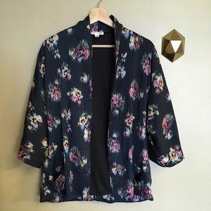d.RA Dewberry Kimono Floral Open Cardigan Indigo S